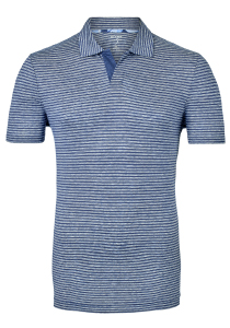 OLYMP Level 5 body fit poloshirt, linnen stretch, blauw met wit