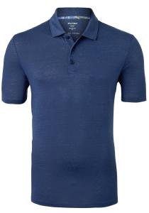 OLYMP modern fit poloshirt, linnen stretch, rookblauw