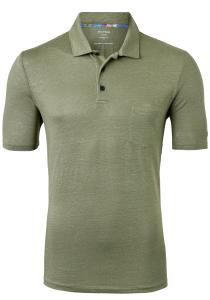 OLYMP modern fit poloshirt, linnen stretch, grijsgroen