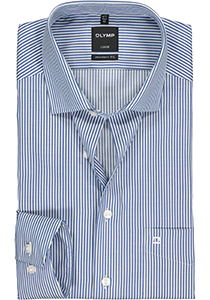OLYMP Luxor modern fit overhemd, mouwlengte 7, twill, marine blauw met wit gestreept