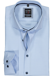 OLYMP Level 5 body fit overhemd, mouwlengte 7, lichtblauw twill (contrast)