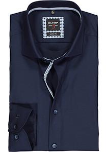 OLYMP Level 5 body fit overhemd, mouwlengte 7, nachtblauw twill (contrast)