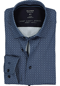 OLYMP Luxor 24/Seven modern fit overhemd, blauw dessin tricot (contrast)