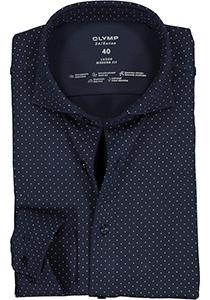 OLYMP 24/Seven Luxor modern fit overhemd, tricot, donkerblauw met wit blauw gestipt