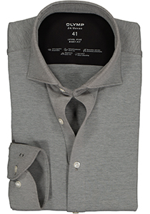OLYMP Level 5 24/Seven body fit overhemd, antraciet grijs tricot