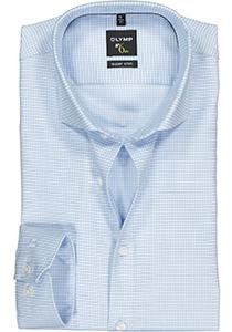 OLYMP No. Six super slim fit overhemd, mouwlengte 7, lichtblauw geruit