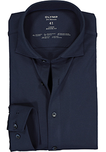 OLYMP Luxor 24/Seven modern fit overhemd, mouwlengte 7, marine blauw tricot