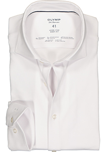 OLYMP Level 5 24/Seven body fit overhemd, mouwlengte 7, wit tricot