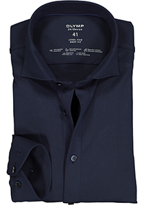 OLYMP Level 5 24/Seven body fit overhemd, mouwlengte 7, marine blauw tricot