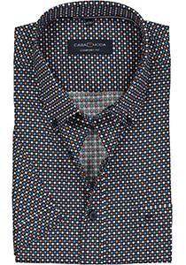 Casa Moda Sport Comfort Fit overhemd, korte mouw, blauw, wit, oranje en petrol dessin