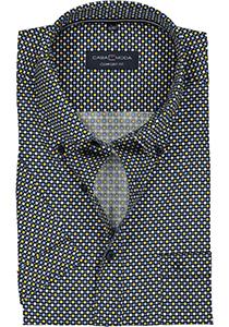 Casa Moda Sport Comfort Fit overhemd, korte mouw, blauw, wit en geel dessin