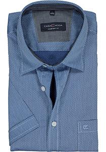 Casa Moda Sport Comfort Fit overhemd, korte mouw, lichtblauw mini dessin (contrast)