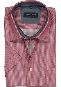 Casa Moda Sport Comfort Fit overhemd, korte mouw, rood, wit en blauw mini dessin (contrast)
