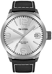 TW Steel heren horloge (45mm), zilver met zwarte leren band