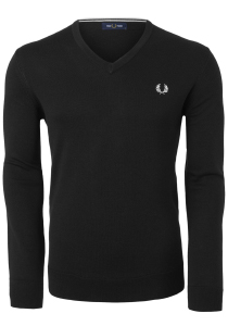 Fred Perry V-hals trui wol, zwart
