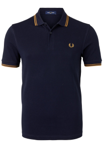 Fred Perry M3600 polo twin tipped shirt, Navy / Dark Caramel / Dark Caramel