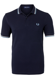 Fred Perry M3600 polo twin tipped shirt, Navy / Snow White / Smoke Blu
