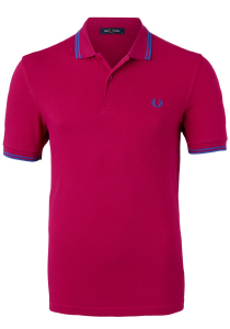 Fred Perry M3600 polo twin tipped shirt, Red Grapefruit / Mid Blue / Mid Blue