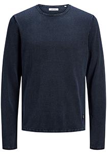 JACK & JONES slim fit trui katoen, O-hals, verwassen donkerblauw