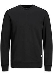 JACK & JONES sweatshirt katoen, O-hals, zwart