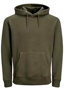 JACK & JONES relaxt fit trui katoen, soft hoodie middeldik, olijfgroen