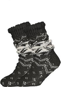 Homepads huissokken gevoerd, zwart met grijs dessin
