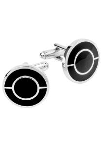 Manchetknopen zwart met zilver rond