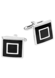 Manchetknopen zwart met zilver vierkant