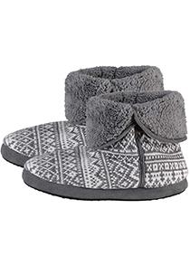 Pantoffels heren hoog model slof met bont en omslag, Noors motief grijs