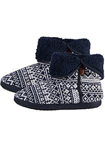 Pantoffels heren hoog model slof met bont en omslag, Noors motief blauw