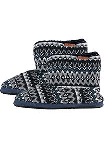 Pantoffels heren hoog model slof met bont, Noors motief blauw