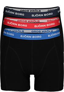 Bjorn Borg boxershorts Essential, 3-pack, zwart met gekleurde tailleband