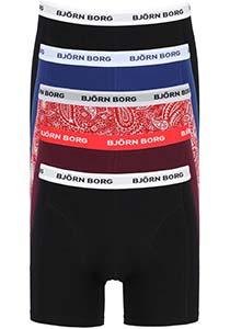 Bjorn Borg boxershorts Essential  (5-pack), heren boxers normale lengte, zwart, wit, bordeaux, blauw, zwart en een rode paisley print