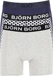 Bjorn Borg boxershorts Core (3-pack), heren boxers normale lengte, blauw, grijs en blauw met wit dessin