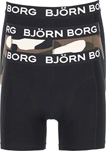 Bjorn Borg boxershorts Core (3-pack), heren boxers normale lengte, zwart, camouflage print en zwart