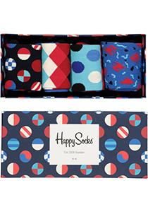 Happy Socks, Navy Gift Box in rood-wit-blauw