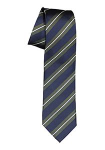 Michaelis  stropdas, zijde, blauw met groen en wit gestreept