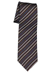 Michaelis  stropdas, zijde, donkerbruin met blauw en wit gestreept