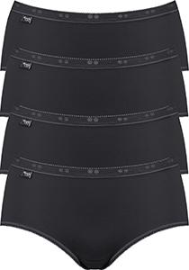 Sloggi Women Basic Midi, dames midi slip (4-Pack), zwart
