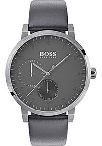 HUGO BOSS heren horloge (42mm), zilverkleurig met grijze leren band