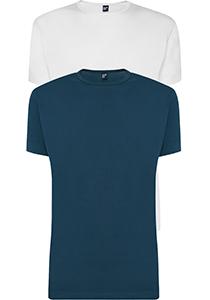 ALAN RED T-shirts Derby (2-pack), O-hals, wit en denim blauw