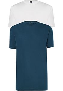 ALAN RED T-shirts Virginia (2-pack), O-hals, wit en denim blauw