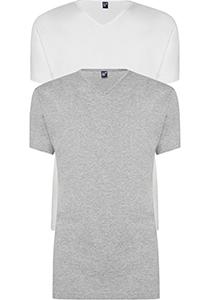 ALAN RED T-shirts Vermont (2-pack), V-hals, wit en  grijs melange