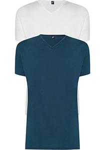 ALAN RED T-shirts Vermont (2-pack), V-hals, wit en denim blauw