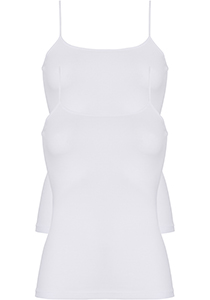 ten Cate Basic women spaghetti top (2-pack), dames hemd smalle bandjes, wit
