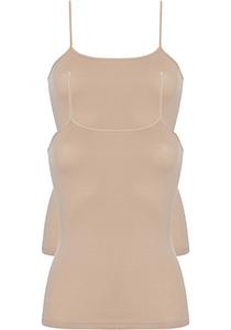 ten Cate Basic women spaghetti top (2-pack), dames hemd smalle bandjes, huidskleur