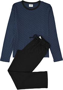 Ten Cate heren pyjama, O-hals, blauw dessin