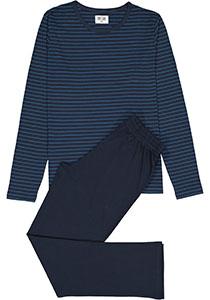 Ten Cate heren pyjama, O-hals, blauw gestreept