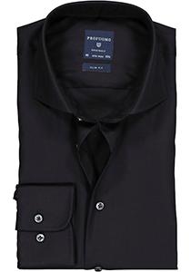 Profuomo Slim Fit overhemd, zwart fine twill