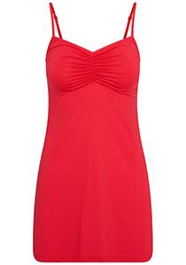 Pure Color dames jurk (1-pack), onderjurk met verstelbare bandjes, rood
